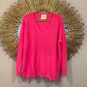 Fantastic Fawn Hot Pink V Neck Ripped Sweater
